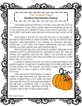 The Pumpkin Patch Reading Comprehension Passage and Questions