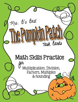 The Pumpkin Patch Task Cards -  Math Skills Practice, Set 1