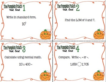 The Pumpkin Patch Task Cards -  Math Skills Practice, Set 2