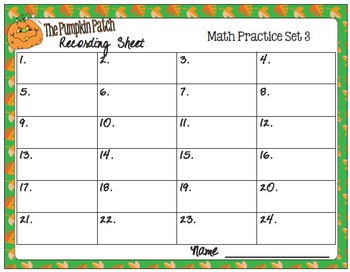 The Pumpkin Patch Task Cards -  Math Skills Practice, Set 3