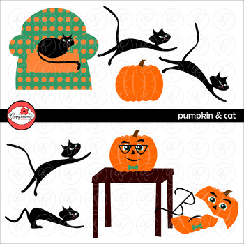The Pumpkin and the Cat Story Element Clipart by Poppydreamz