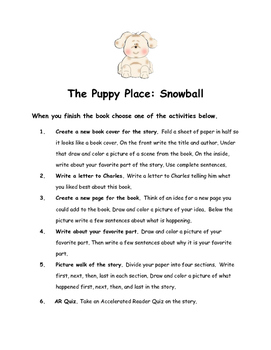 The Puppy Place: Snowball By Ellen Miles Comprehension Packet