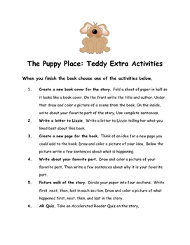 The Puppy Place: Teddy By Ellen Miles Comprehension Packet