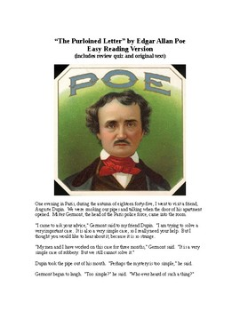 The Purloined Letter - Poe - Easy Reading Version with review quiz
