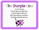 The Purple Cow by Gelett Burgess Poetry Activities & Craft Pack