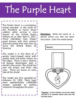 Memorial/Veteran's Day - The Purple Heart