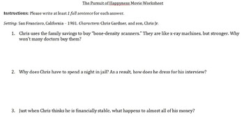 The Pursuit of Happyness Movie Worksheet
