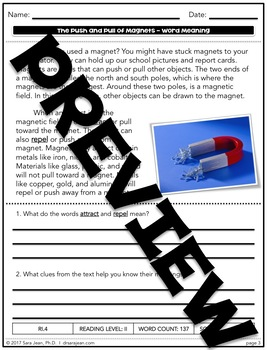 The Push & Pull of Magnets • Reading Comprehension Passages & Questions • RL II