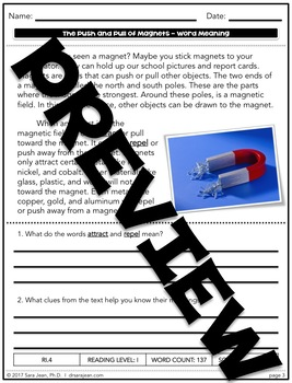 The Push & Pull of Magnets • Reading Comprehension Passages and Questions • RL I