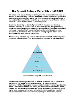 The Pyramid Order, a Way of Life - HANDOUT