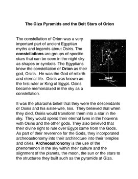 The Pyramids of Giza and The Belt Stars of Orion