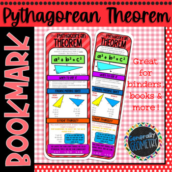 The Pythagorean Theorem Bookmark; Resource Tool, Right Triangles