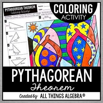 pythagorean theorem coloring activity by all things algebra tpt. Black Bedroom Furniture Sets. Home Design Ideas