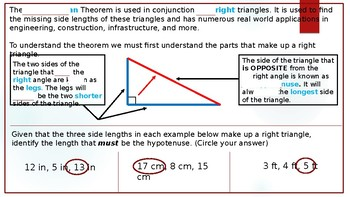 The Pythagorean Theorem - Common Core Powerpoint Lesson