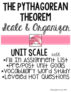 The Pythagorean Theorem Student Scale and Organizer 8.G.B.