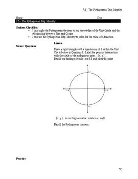 The Pythagorean Trig. Identity Notes