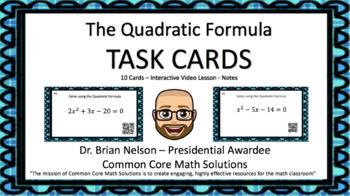 The Quadratic Formula - 20 Task Cards (2 levels)  Interact