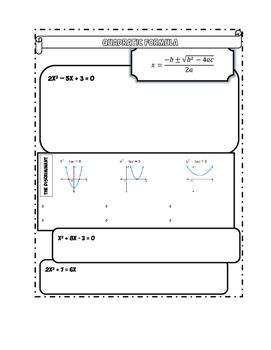 The Quadratic Formula Doodle Notes