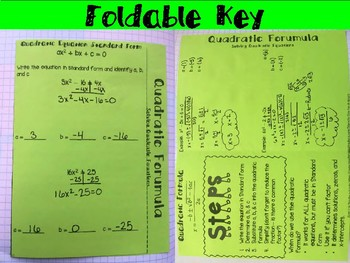 Solving Quadratic Equations: Quadratic Formula Foldable, INB, Practice, Exit