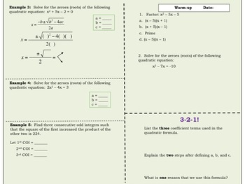 The Quadratic Formula Foldable for Interactive Notebooks