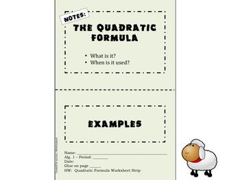 The Quadratic Formula Foldable for Interactive Notebooks