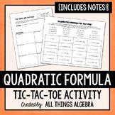 Quadratic Formula Notes and Partner Activity