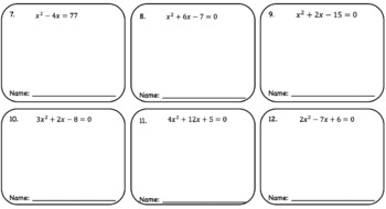 The Quadratic Formula – Pass the Paper Activity (Cooperative Learning)