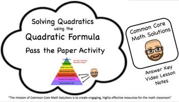 The Quadratic Formula – Pass the Paper Activity (Cooperati
