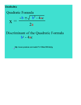 The Quadratic Formula SmartBoard Lesson