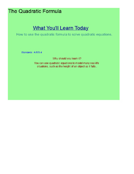 The Quadratic Formula SmartBoard Lesson