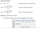 The Quadratic Formula and Finding Roots Using Goal Seek on