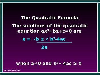 Power-point:  The Quadratic Formula with GUIDED NOTES