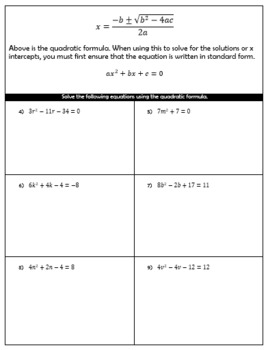 The Quadratic Formula (complex numbers) Guided Notes and HW