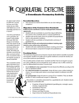 The Quadrilateral Detective: A Coordinate Geometry Activity