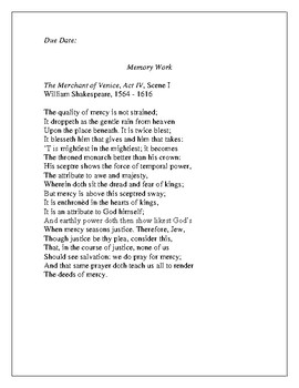 The Quality of Mercy Passage Memory Work  from The Merchant of Venice