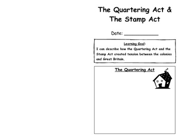 The Quartering Act And Stamp Notes Brochure