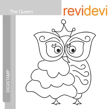 The Queen (digital stamp, coloring image) S003, big owl