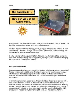 The Question Is: How Can We Use the Sun to Cook?