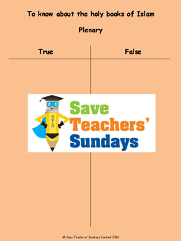 The Qur'an Lesson plan, PowerPoint and Worksheets (K to 2nd Grade)