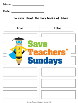 The Qur'an Lesson plan, PowerPoint and Worksheets (2nd to 4th Grade)
