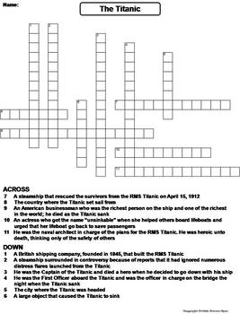 The RMS Titanic Worksheet/ Crossword Puzzle