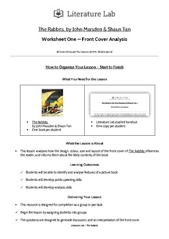 The Rabbits - Front Cover Analysis Worksheet