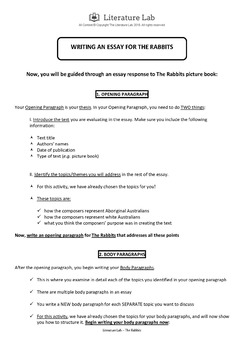 The Rabbits - Guided Writing Task Worksheet & Essay Writing PowerPoint
