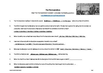 The Rabbits (John Marsden) & Australian Settlement Worksheets & Answers