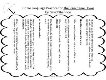 The Rain Came Down: A Language through Literacy Unit
