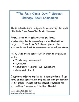 """The Rain Came Down"" Speech Therapy Book Companion"