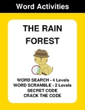 The Rain Forest - Word Search, Word Scramble,  Secret Code,  Crack the Code