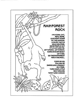 The Rain is Coming, rain forest songs and lyric coloring pages