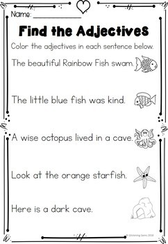 image relating to Rainbow Fish Printable titled The Rainbow Fish - Adjectives Printables Worksheets