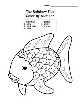 rainbow fish free coloring pages | The Rainbow Fish Color by Number by Basler's Best | TpT